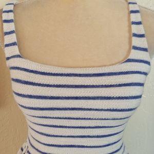 SATURDAY IN BROOKYN dress white blue stripe XS